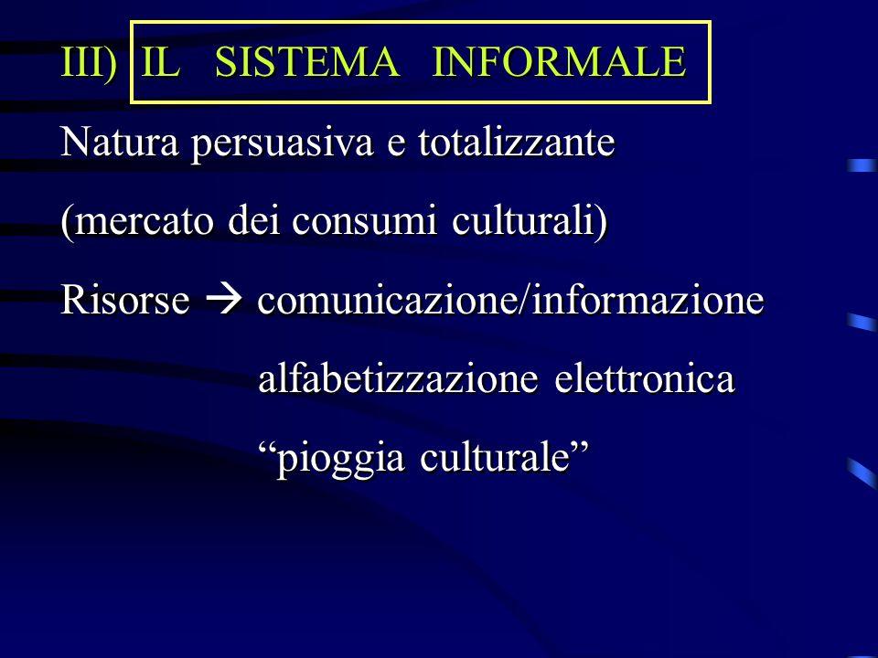 III) IL SISTEMA INFORMALE Natura persuasiva e totalizzante (mercato dei consumi culturali) Risorse  comunicazione/informazione alfabetizzazione elett