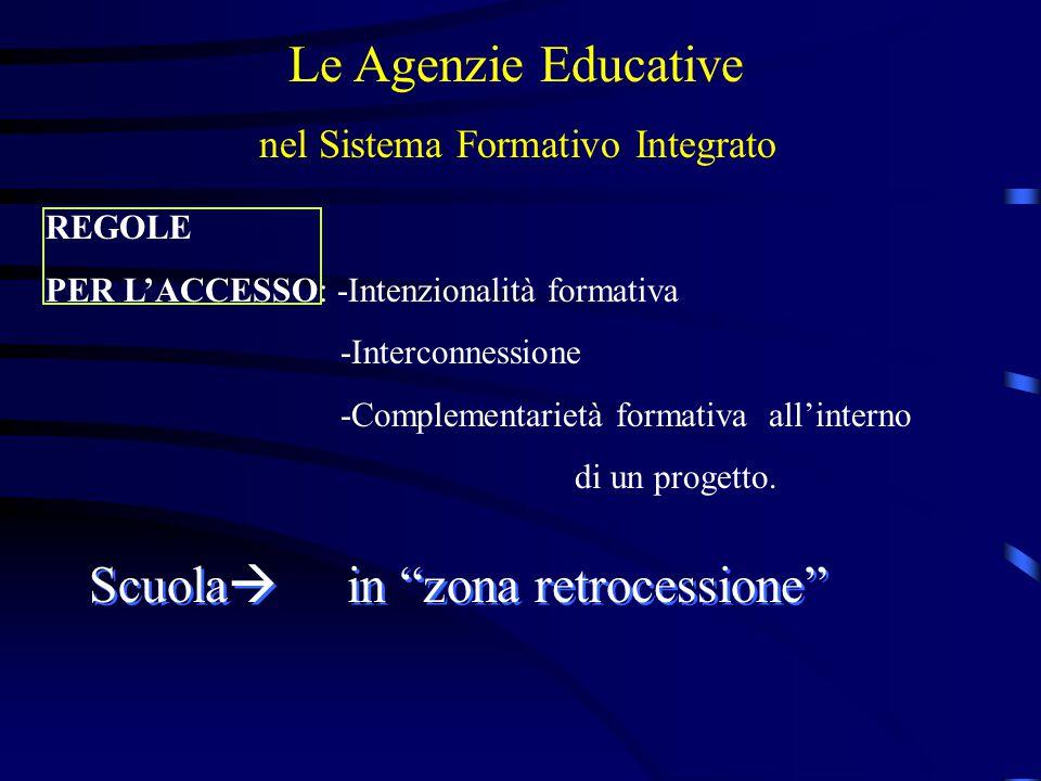 Le Agenzie Educative nel Sistema Formativo Integrato REGOLE PER L'ACCESSO: -Intenzionalità formativa -Interconnessione -Complementarietà formativa all