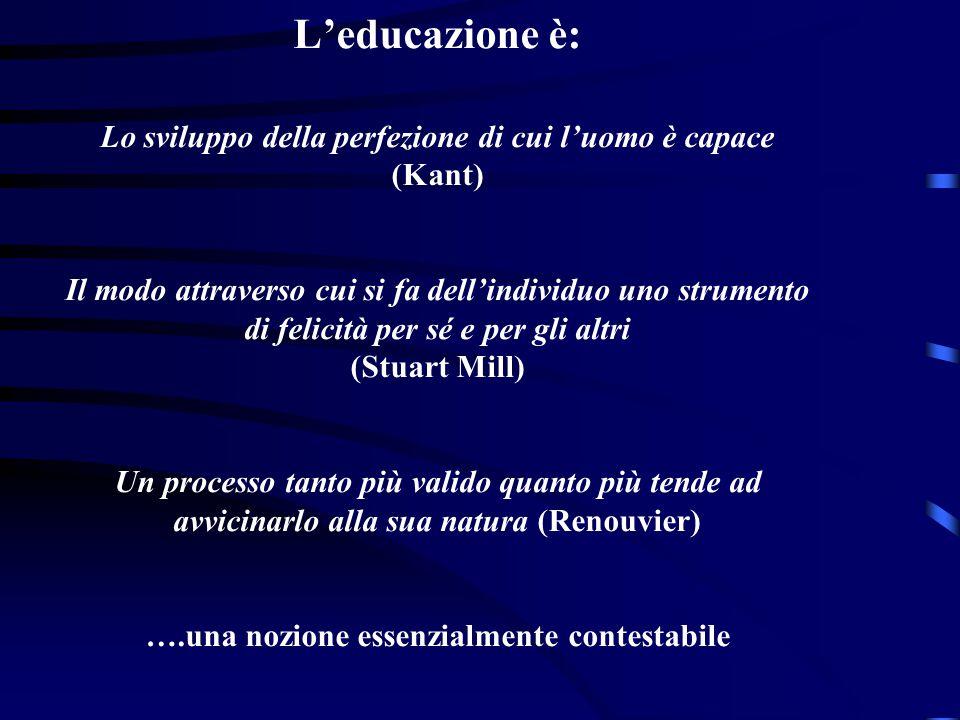 L'educazione è: Lo sviluppo della perfezione di cui l'uomo è capace (Kant) Il modo attraverso cui si fa dell'individuo uno strumento di felicità per s