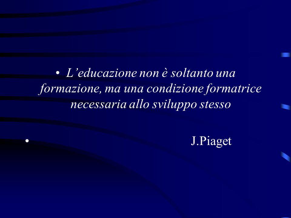 L'educazione non è soltanto una formazione, ma una condizione formatrice necessaria allo sviluppo stesso J.Piaget