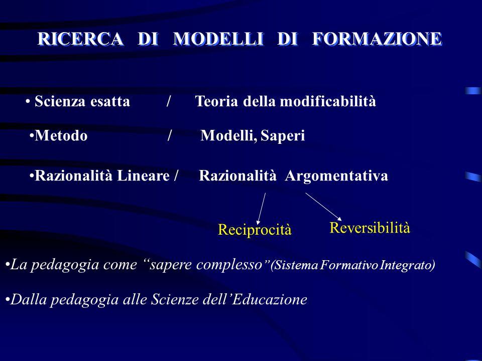 """RICERCA DI MODELLI DI FORMAZIONE Scienza esatta / Teoria della modificabilità La pedagogia come """"sapere complesso """"(Sistema Formativo Integrato) Dalla"""