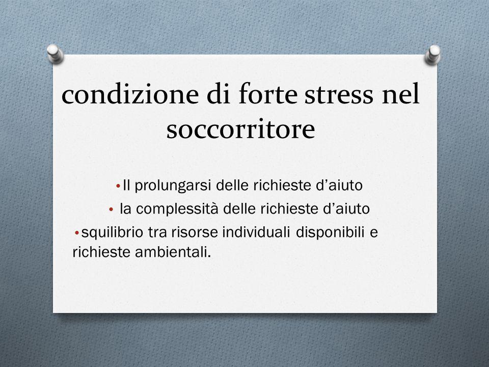 condizione di forte stress nel soccorritore Il prolungarsi delle richieste d'aiuto la complessità delle richieste d'aiuto squilibrio tra risorse indiv