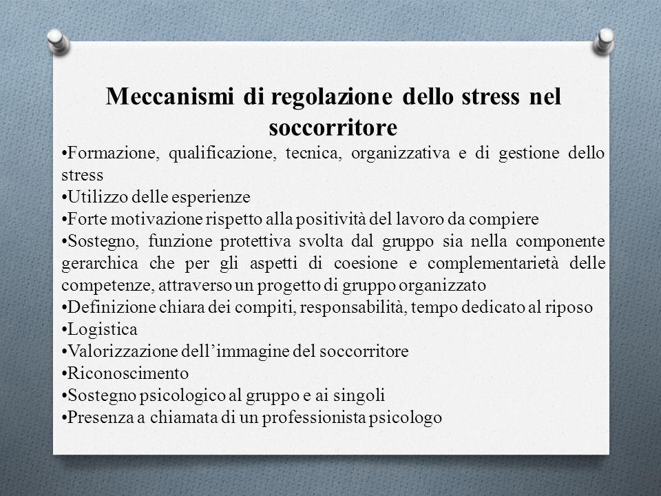 Meccanismi di regolazione dello stress nel soccorritore Formazione, qualificazione, tecnica, organizzativa e di gestione dello stress Utilizzo delle e