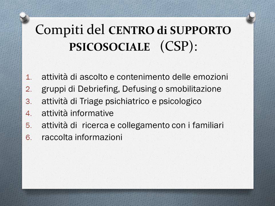 Compiti del CENTRO di SUPPORTO PSICOSOCIALE (CSP): 1. attività di ascolto e contenimento delle emozioni 2. gruppi di Debriefing, Defusing o smobilitaz