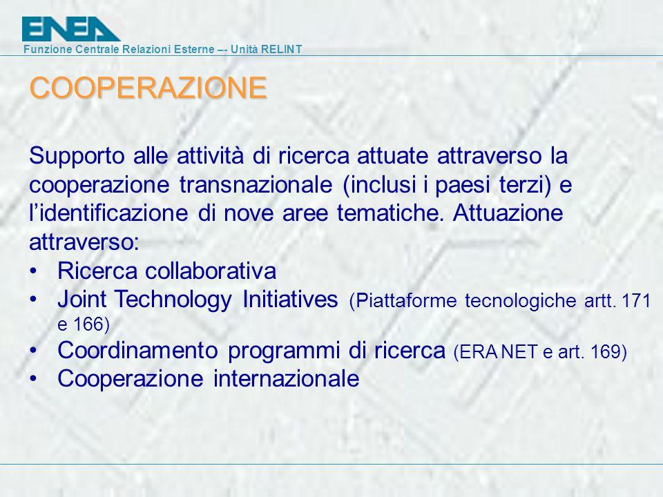COOPERAZIONE Supporto alle attività di ricerca attuate attraverso la cooperazione transnazionale (inclusi i paesi terzi) e l'identificazione di nove aree tematiche.
