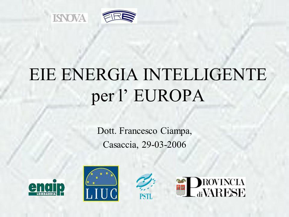 EIE ENERGIA INTELLIGENTE per l' EUROPA Dott. Francesco Ciampa, Casaccia, 29-03-2006