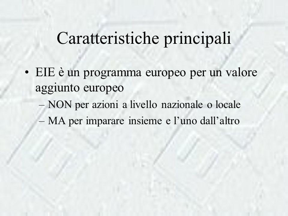 Caratteristiche principali EIE è un programma europeo per un valore aggiunto europeo –NON per azioni a livello nazionale o locale –MA per imparare insieme e l'uno dall'altro