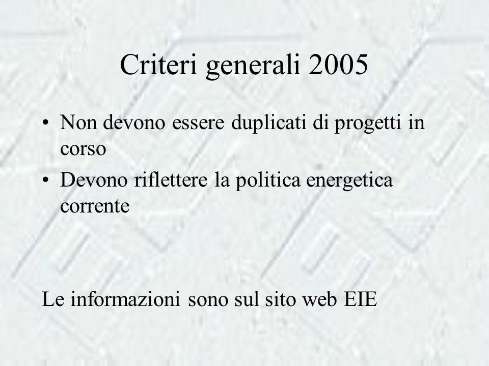 Criteri generali 2005 Non devono essere duplicati di progetti in corso Devono riflettere la politica energetica corrente Le informazioni sono sul sito web EIE