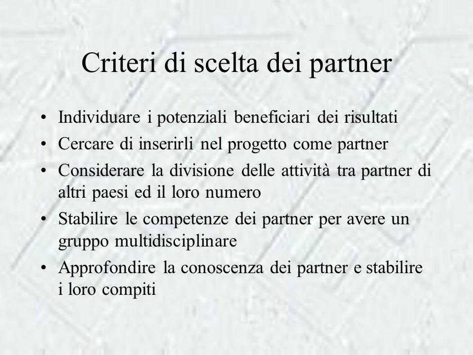 Criteri di scelta dei partner Individuare i potenziali beneficiari dei risultati Cercare di inserirli nel progetto come partner Considerare la divisione delle attività tra partner di altri paesi ed il loro numero Stabilire le competenze dei partner per avere un gruppo multidisciplinare Approfondire la conoscenza dei partner e stabilire i loro compiti