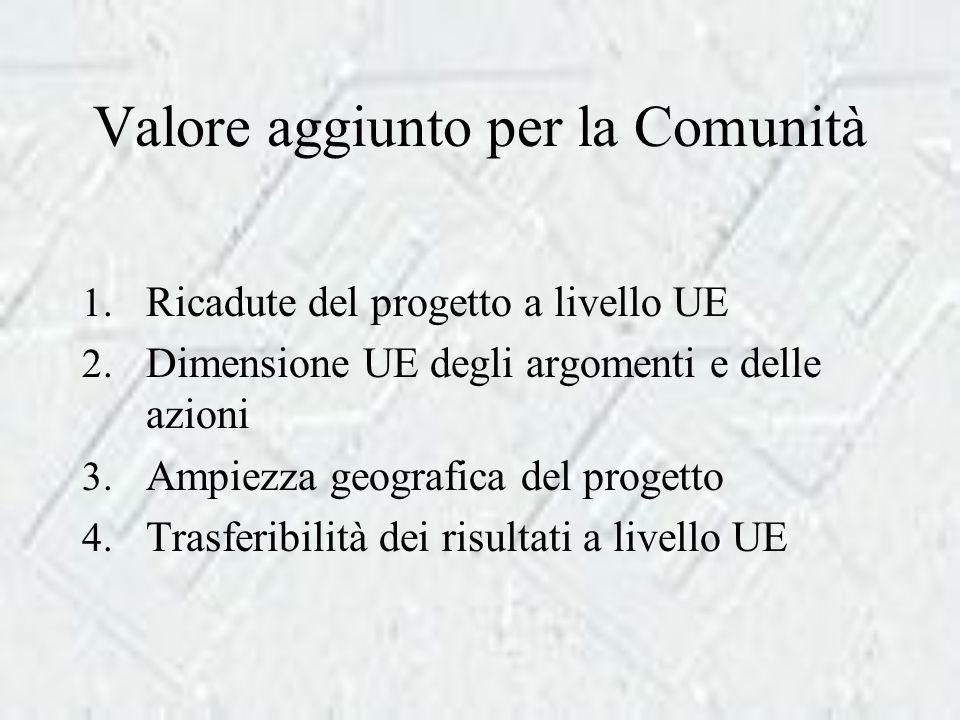 Valore aggiunto per la Comunità 1. Ricadute del progetto a livello UE 2.