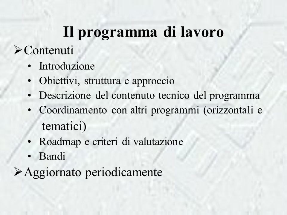 Il programma di lavoro  Contenuti Introduzione Obiettivi, struttura e approccio Descrizione del contenuto tecnico del programma Coordinamento con altri programmi (orizzontali e tematici) Roadmap e criteri di valutazione Bandi  Aggiornato periodicamente
