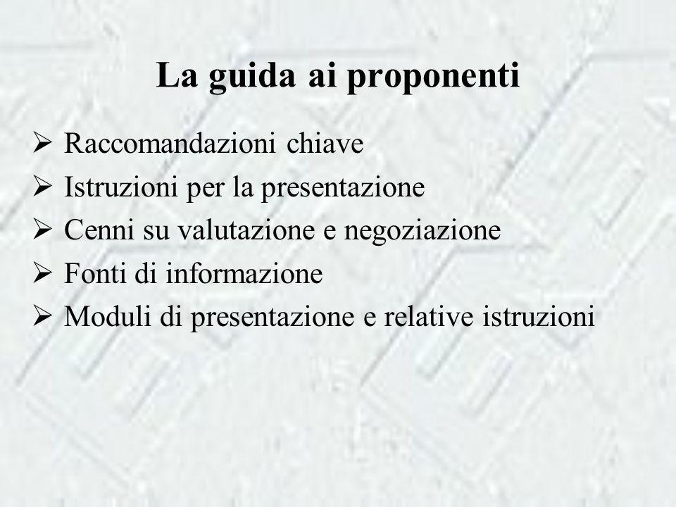 La guida ai proponenti  Raccomandazioni chiave  Istruzioni per la presentazione  Cenni su valutazione e negoziazione  Fonti di informazione  Moduli di presentazione e relative istruzioni