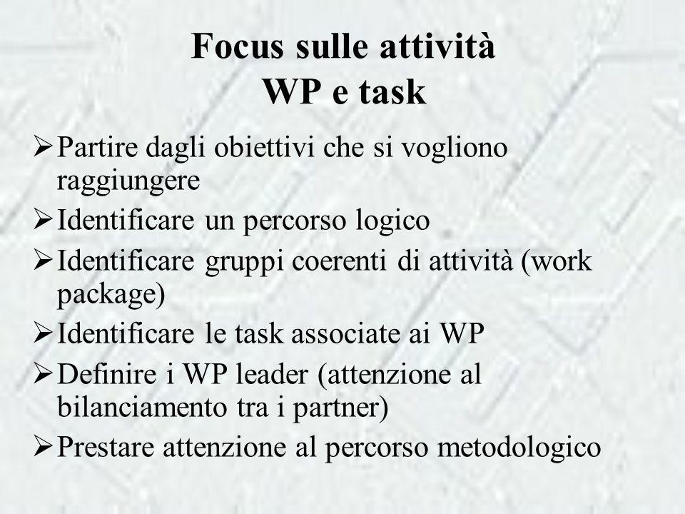 Focus sulle attività WP e task  Partire dagli obiettivi che si vogliono raggiungere  Identificare un percorso logico  Identificare gruppi coerenti di attività (work package)  Identificare le task associate ai WP  Definire i WP leader (attenzione al bilanciamento tra i partner)  Prestare attenzione al percorso metodologico