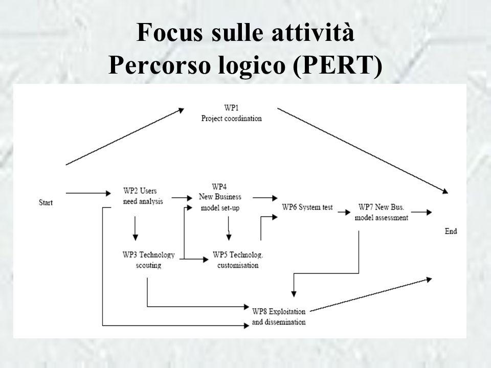 Focus sulle attività Percorso logico (PERT)