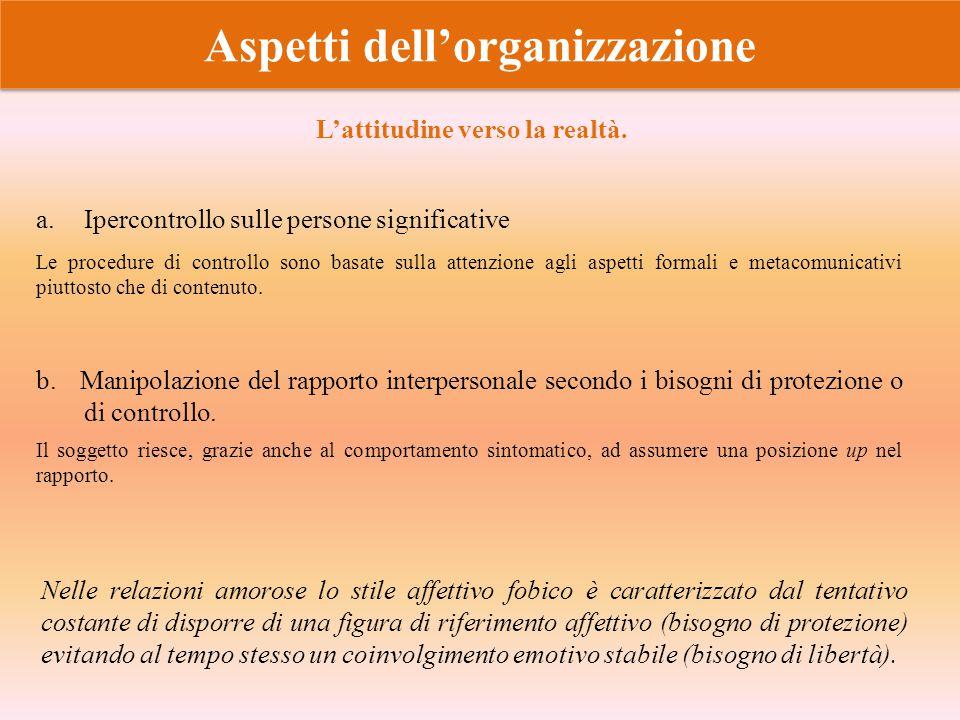 Aspetti dell'organizzazione a.Ipercontrollo sulle persone significative b. Manipolazione del rapporto interpersonale secondo i bisogni di protezione o