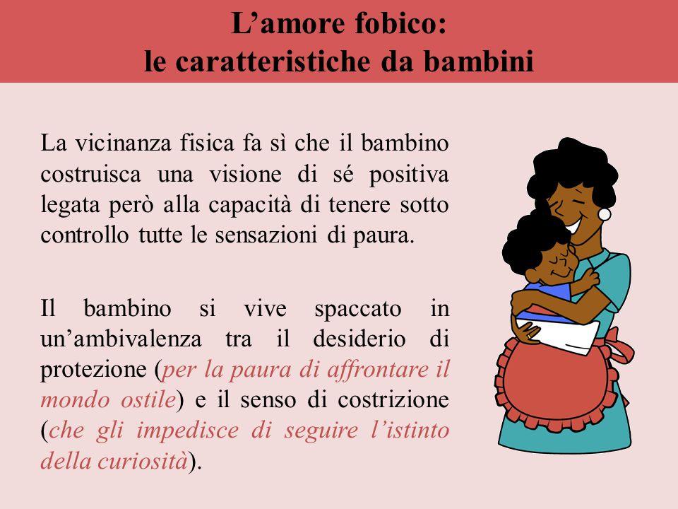 L'amore fobico: le caratteristiche da bambini La vicinanza fisica fa sì che il bambino costruisca una visione di sé positiva legata però alla capacità