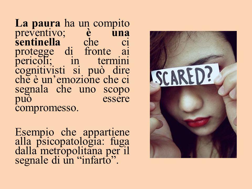 La paura ha un compito preventivo; è una sentinella che ci protegge di fronte ai pericoli; in termini cognitivisti si può dire che è un'emozione che c