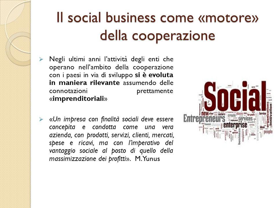 Il social business come «motore» della cooperazione  Negli ultimi anni l'attività degli enti che operano nell'ambito della cooperazione con i paesi i