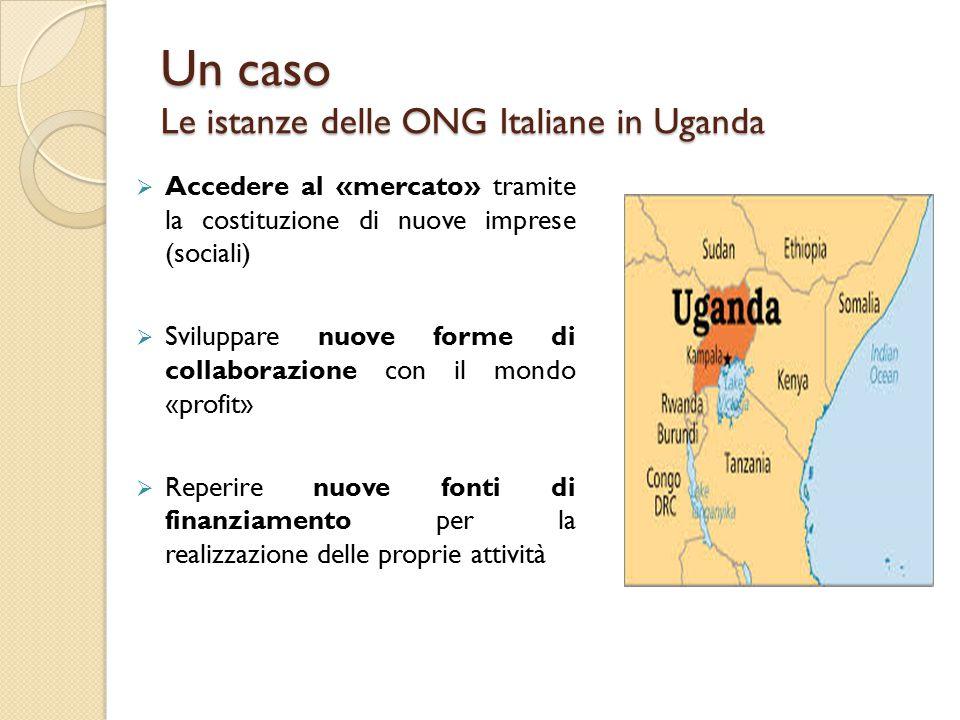 Un caso Le istanze delle ONG Italiane in Uganda  Accedere al «mercato» tramite la costituzione di nuove imprese (sociali)  Sviluppare nuove forme di collaborazione con il mondo «profit»  Reperire nuove fonti di finanziamento per la realizzazione delle proprie attività