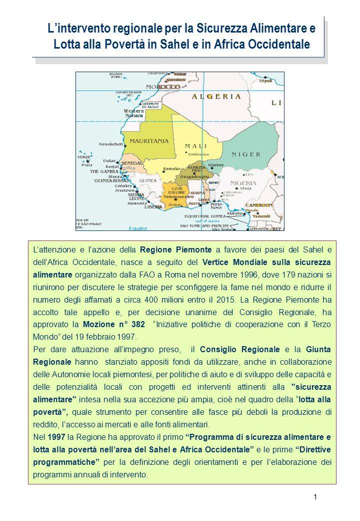 1 L'intervento regionale per la Sicurezza Alimentare e Lotta alla Povertà in Sahel e in Africa Occidentale L'attenzione e l'azione della Regione Piemonte a favore dei paesi del Sahel e dell'Africa Occidentale, nasce a seguito del Vertice Mondiale sulla sicurezza alimentare organizzato dalla FAO a Roma nel novembre 1996, dove 179 nazioni si riunirono per discutere le strategie per sconfiggere la fame nel mondo e ridurre il numero degli affamati a circa 400 milioni entro il 2015.