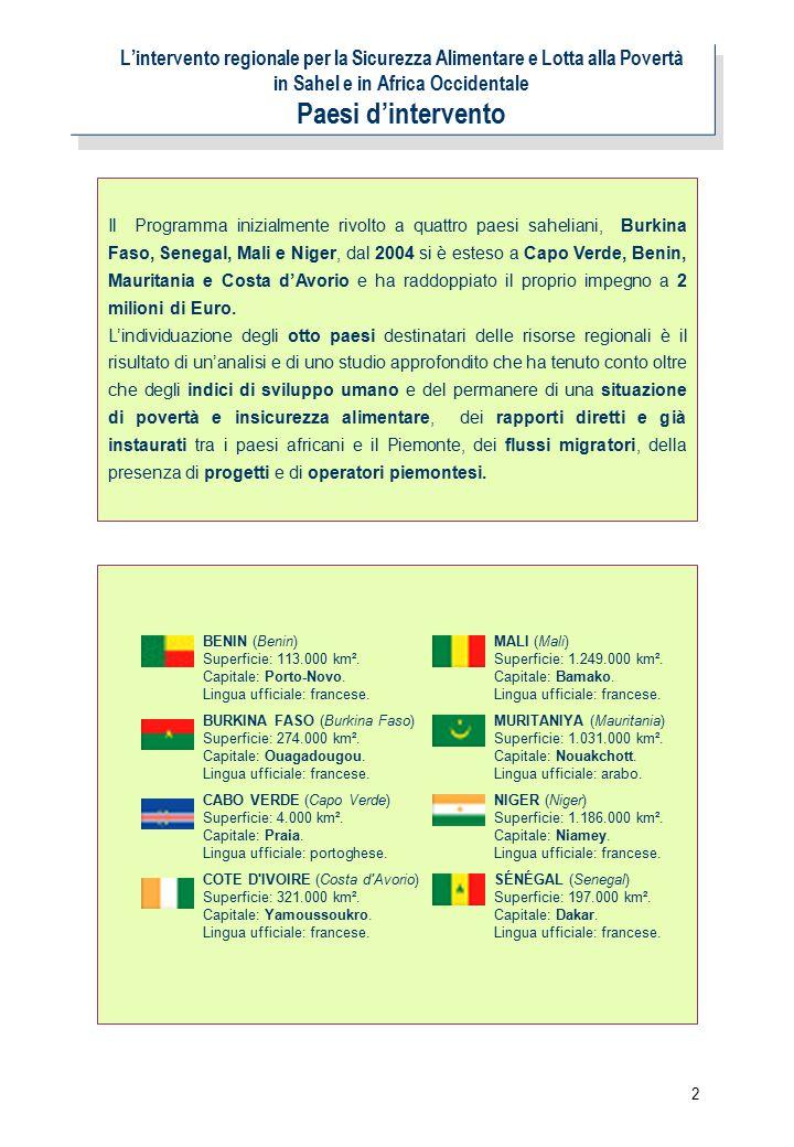 2 L'intervento regionale per la Sicurezza Alimentare e Lotta alla Povertà in Sahel e in Africa Occidentale Paesi d'intervento Il Programma inizialmente rivolto a quattro paesi saheliani, Burkina Faso, Senegal, Mali e Niger, dal 2004 si è esteso a Capo Verde, Benin, Mauritania e Costa d'Avorio e ha raddoppiato il proprio impegno a 2 milioni di Euro.