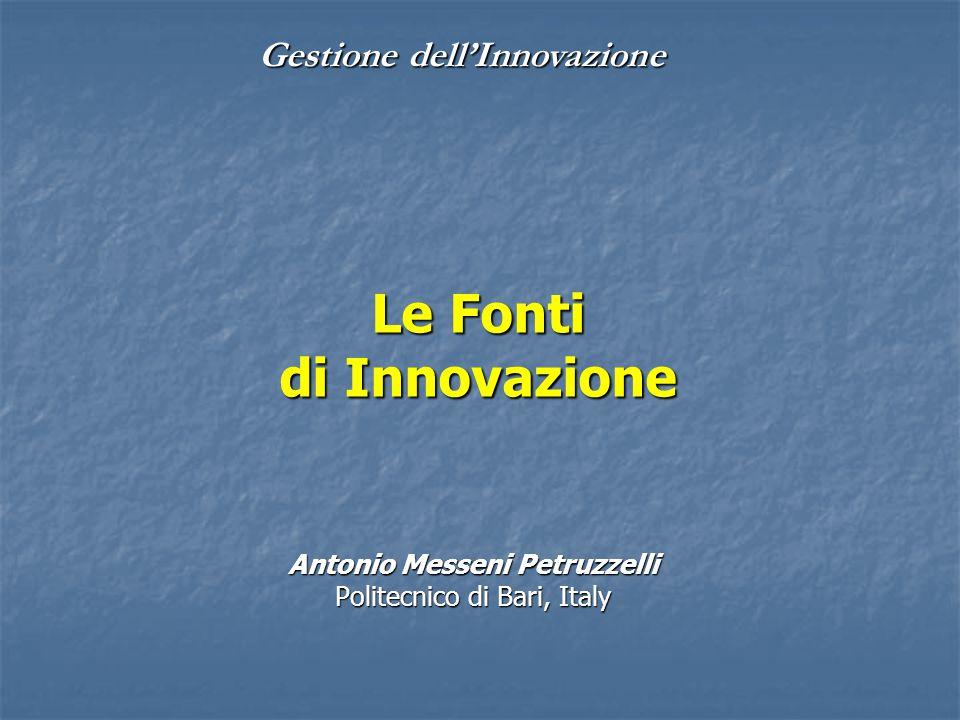 Gestione dell'Innovazione Le Fonti di Innovazione Antonio Messeni Petruzzelli Politecnico di Bari, Italy