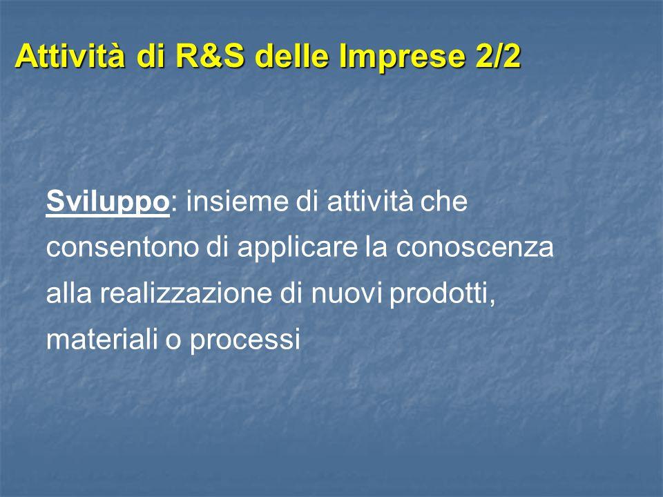 Attività di R&S delle Imprese 2/2 Sviluppo: insieme di attività che consentono di applicare la conoscenza alla realizzazione di nuovi prodotti, materi