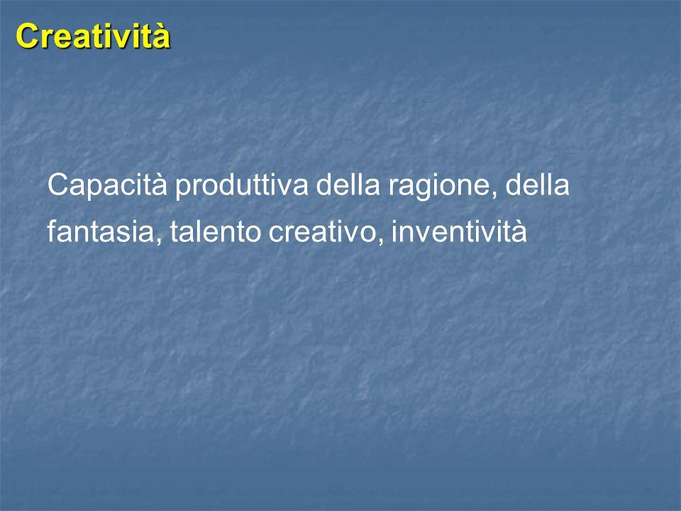Creatività Individuale 1/2  Intelletto  Conoscenza  Forma mentis  Personalità  Ambiente circostante