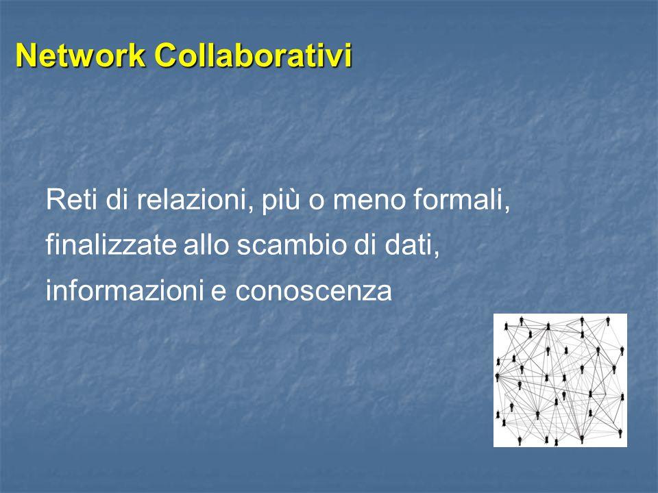 Network Collaborativi Reti di relazioni, più o meno formali, finalizzate allo scambio di dati, informazioni e conoscenza