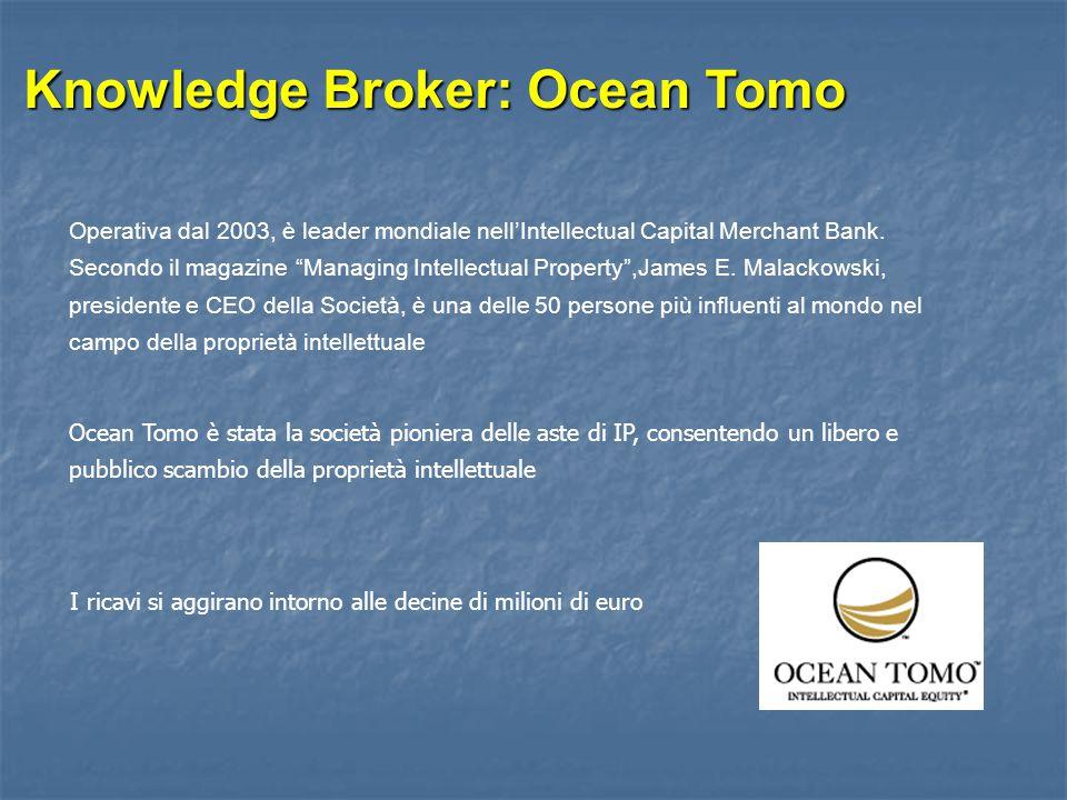 """Knowledge Broker: Ocean Tomo Operativa dal 2003, è leader mondiale nell'Intellectual Capital Merchant Bank. Secondo il magazine """"Managing Intellectual"""