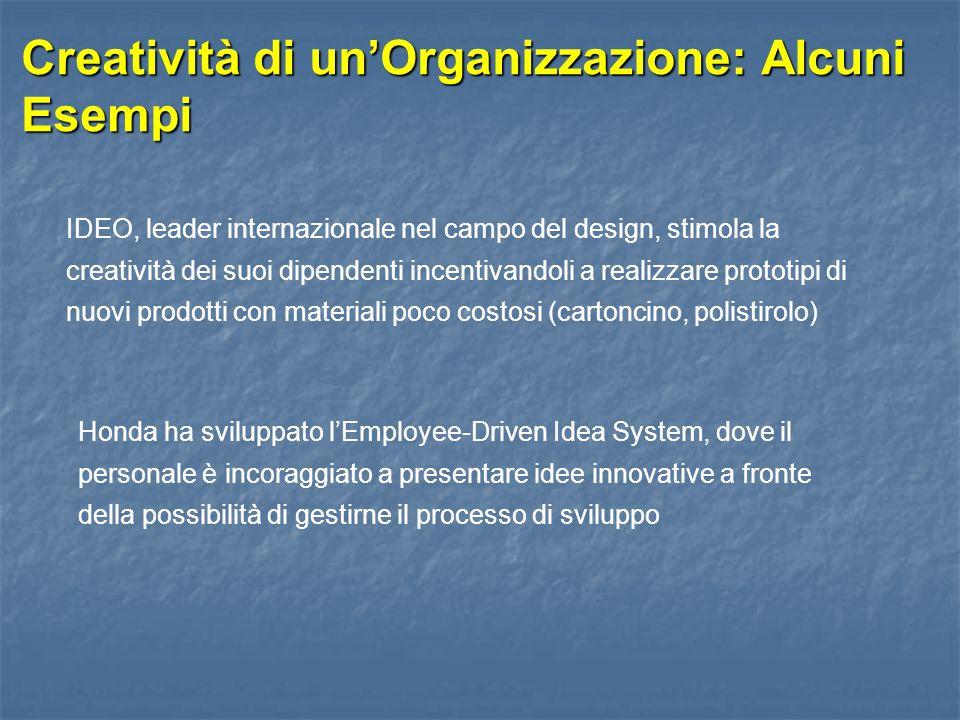 Creatività di un'Organizzazione: Alcuni Esempi IDEO, leader internazionale nel campo del design, stimola la creatività dei suoi dipendenti incentivand