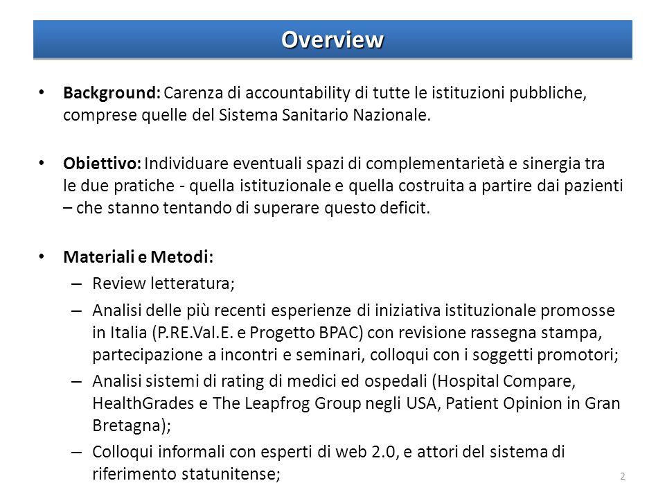OverviewOverview Background: Carenza di accountability di tutte le istituzioni pubbliche, comprese quelle del Sistema Sanitario Nazionale.