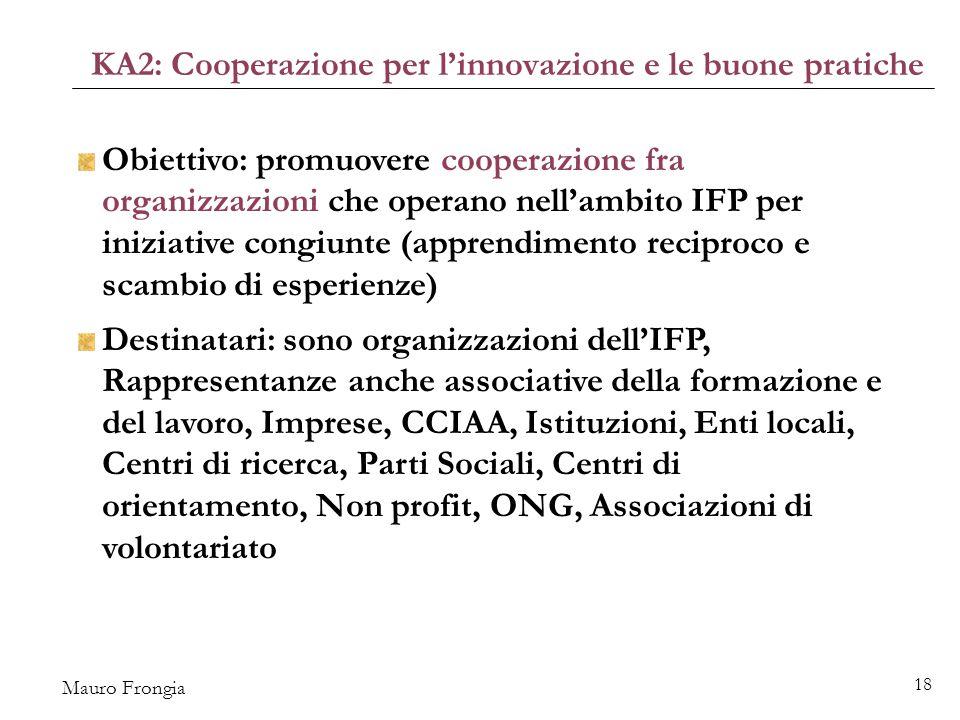 Mauro Frongia 18 KA2: Cooperazione per l'innovazione e le buone pratiche Obiettivo: promuovere cooperazione fra organizzazioni che operano nell'ambito IFP per iniziative congiunte (apprendimento reciproco e scambio di esperienze) Destinatari: sono organizzazioni dell'IFP, Rappresentanze anche associative della formazione e del lavoro, Imprese, CCIAA, Istituzioni, Enti locali, Centri di ricerca, Parti Sociali, Centri di orientamento, Non profit, ONG, Associazioni di volontariato