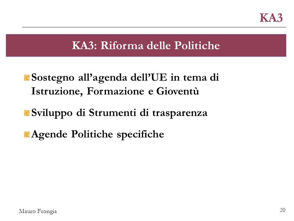 Mauro Frongia 20 KA3 KA3: Riforma delle Politiche Sostegno all'agenda dell'UE in tema di Istruzione, Formazione e Gioventù Sviluppo di Strumenti di trasparenza Agende Politiche specifiche