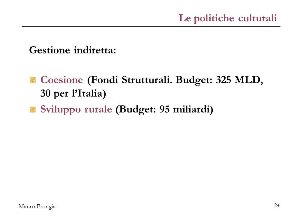 Mauro Frongia 24 Gestione indiretta: Coesione (Fondi Strutturali.