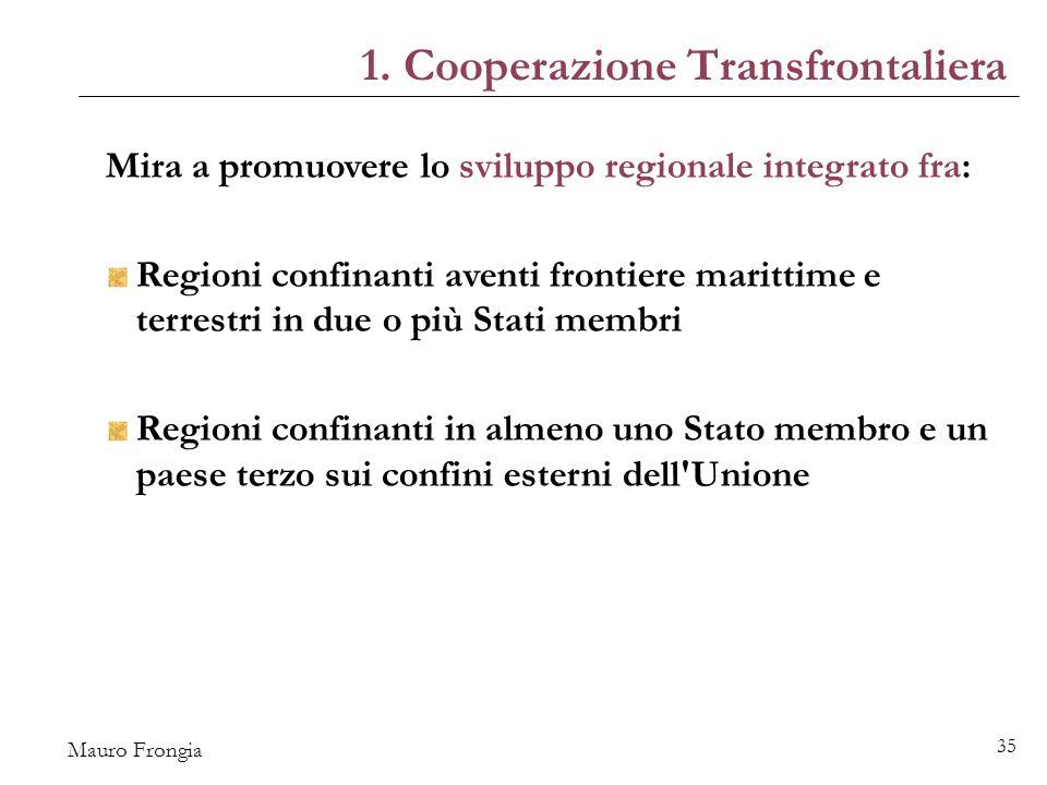 Mauro Frongia 35 Mira a promuovere lo sviluppo regionale integrato fra: Regioni confinanti aventi frontiere marittime e terrestri in due o più Stati membri Regioni confinanti in almeno uno Stato membro e un paese terzo sui confini esterni dell Unione 1.