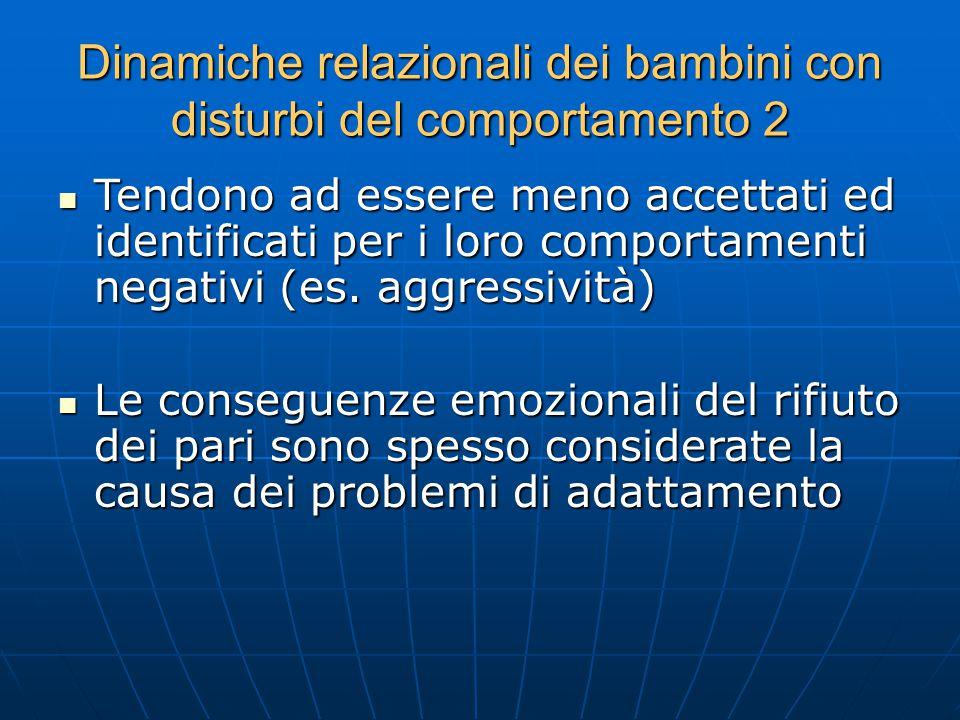 Dinamiche relazionali dei bambini con disturbi del comportamento 2 Tendono ad essere meno accettati ed identificati per i loro comportamenti negativi (es.