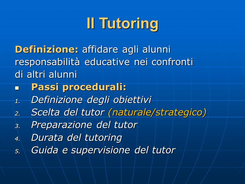Il Tutoring Definizione: affidare agli alunni responsabilità educative nei confronti di altri alunni Passi procedurali: Passi procedurali: 1.