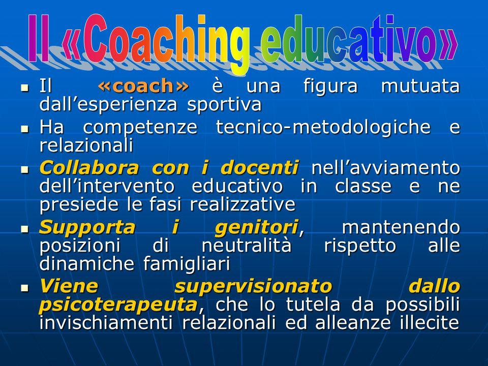 Il «coach» è una figura mutuata dall'esperienza sportiva Il «coach» è una figura mutuata dall'esperienza sportiva Ha competenze tecnico-metodologiche e relazionali Ha competenze tecnico-metodologiche e relazionali Collabora con i docenti nell'avviamento dell'intervento educativo in classe e ne presiede le fasi realizzative Collabora con i docenti nell'avviamento dell'intervento educativo in classe e ne presiede le fasi realizzative Supporta i genitori, mantenendo posizioni di neutralità rispetto alle dinamiche famigliari Supporta i genitori, mantenendo posizioni di neutralità rispetto alle dinamiche famigliari Viene supervisionato dallo psicoterapeuta, che lo tutela da possibili invischiamenti relazionali ed alleanze illecite Viene supervisionato dallo psicoterapeuta, che lo tutela da possibili invischiamenti relazionali ed alleanze illecite