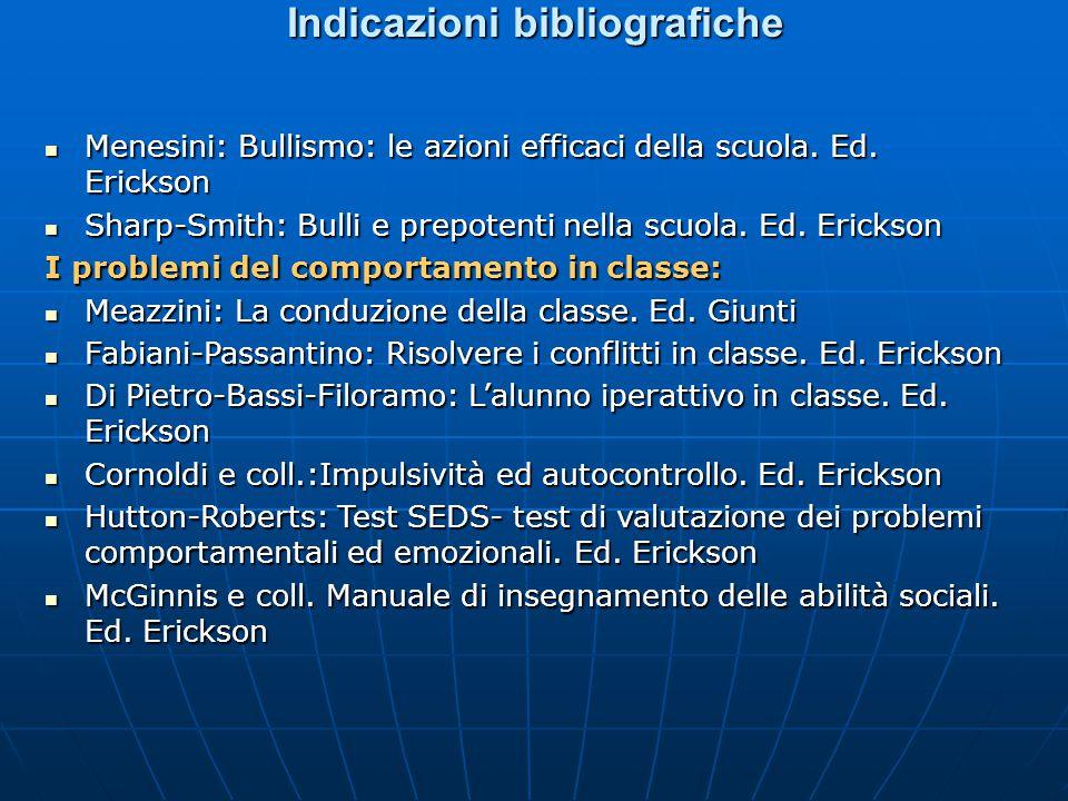 Indicazioni bibliografiche Menesini: Bullismo: le azioni efficaci della scuola.