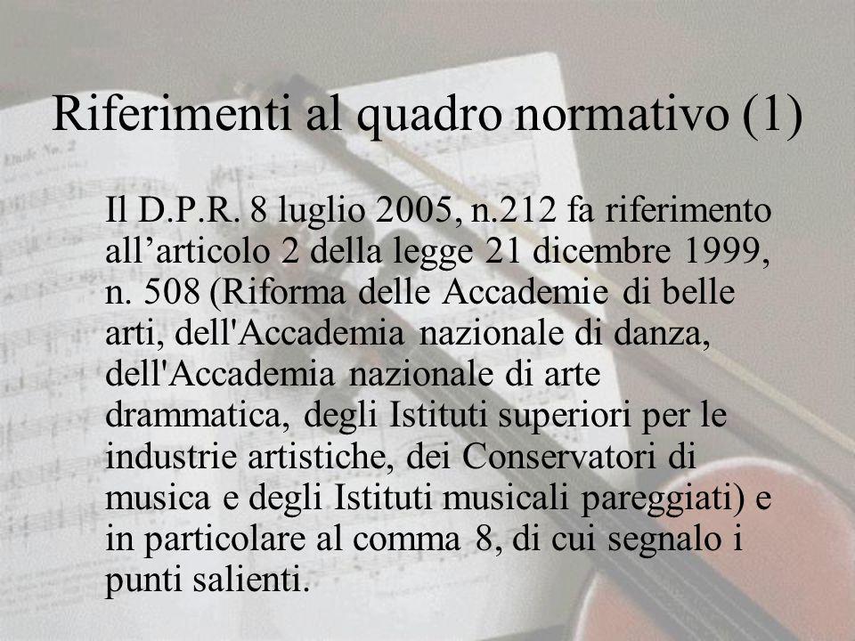 Riferimenti al quadro normativo (1) Il D.P.R.