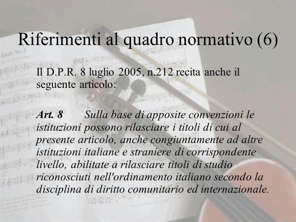 Riferimenti al quadro normativo (6) Il D.P.R.