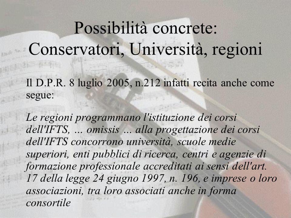 Possibilità concrete: Conservatori, Università, regioni Il D.P.R.