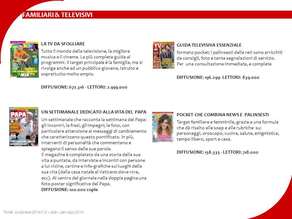 FAMILIARI & TELEVISIVI LA TV DA SFOGLIARE Tutto il mondo della televisione, la migliore musica e il cinema. La più completa guida ai programmi. Il tar