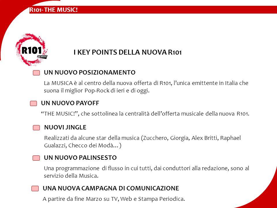 UN NUOVO POSIZIONAMENTO La MUSICA è al centro della nuova offerta di R101, l'unica emittente in Italia che suona il miglior Pop-Rock di ieri e di oggi