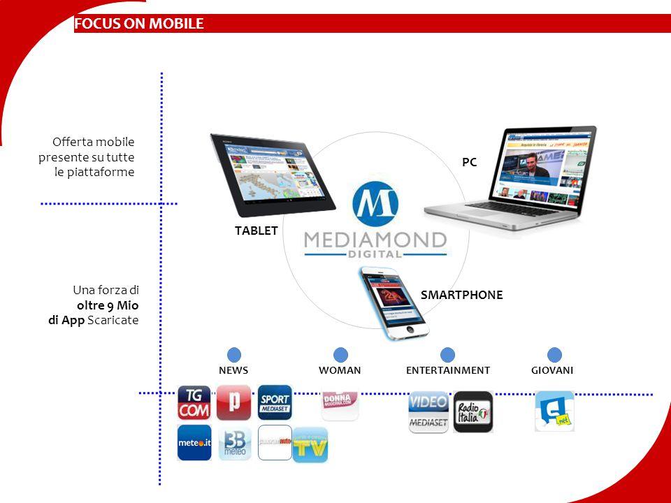 FOCUS ON MOBILE Offerta mobile presente su tutte le piattaforme SMARTPHONE TABLET Una forza di oltre 9 Mio di App Scaricate NEWSWOMANENTERTAINMENTGIOV