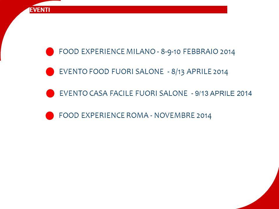 FOOD EXPERIENCE MILANO - 8-9-10 FEBBRAIO 2014 EVENTO FOOD FUORI SALONE - 8/13 APRILE 2014 EVENTO CASA FACILE FUORI SALONE - 9/13 APRILE 2014 FOOD EXPE