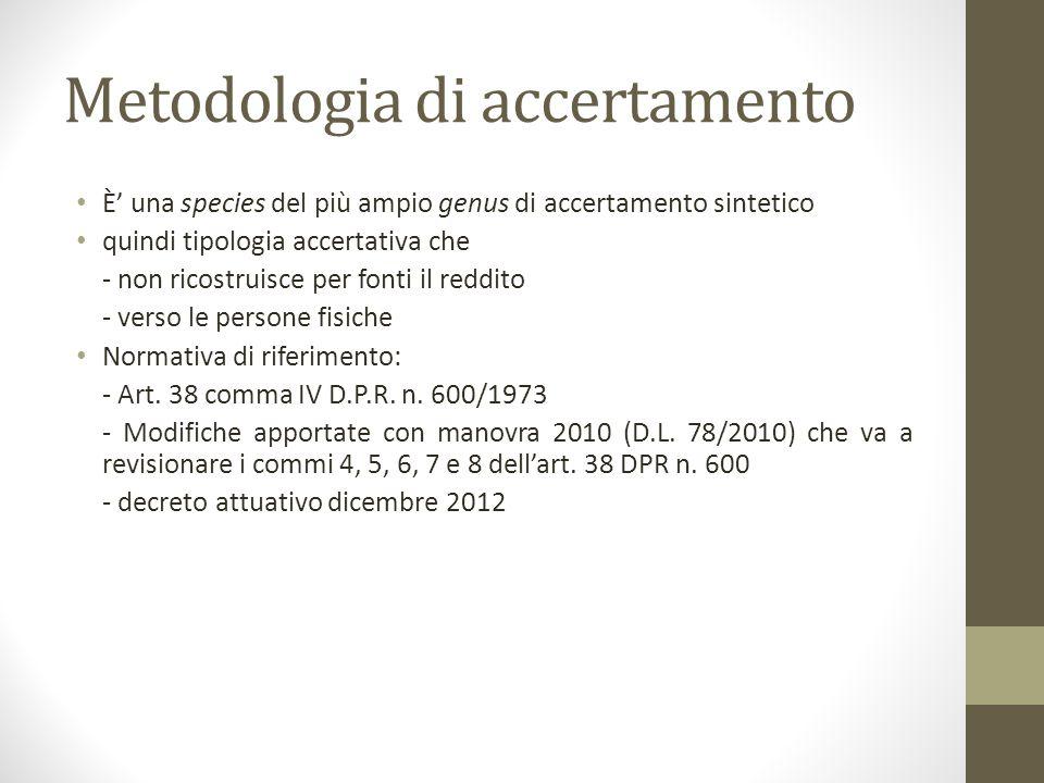 Metodologia di accertamento È' una species del più ampio genus di accertamento sintetico quindi tipologia accertativa che - non ricostruisce per fonti