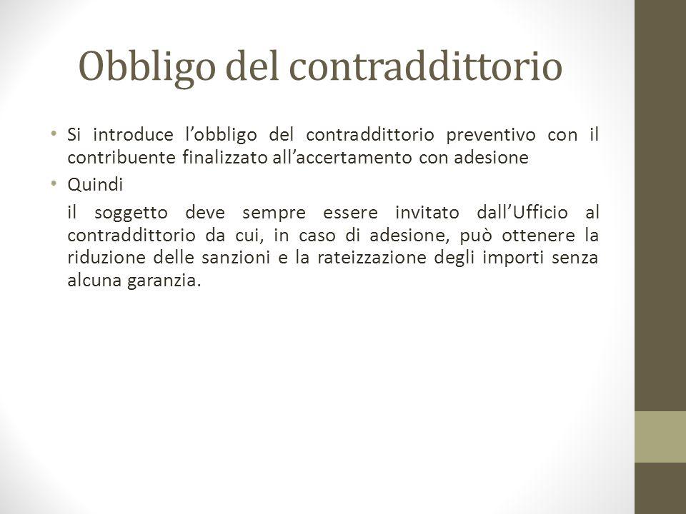 Obbligo del contraddittorio Si introduce l'obbligo del contraddittorio preventivo con il contribuente finalizzato all'accertamento con adesione Quindi
