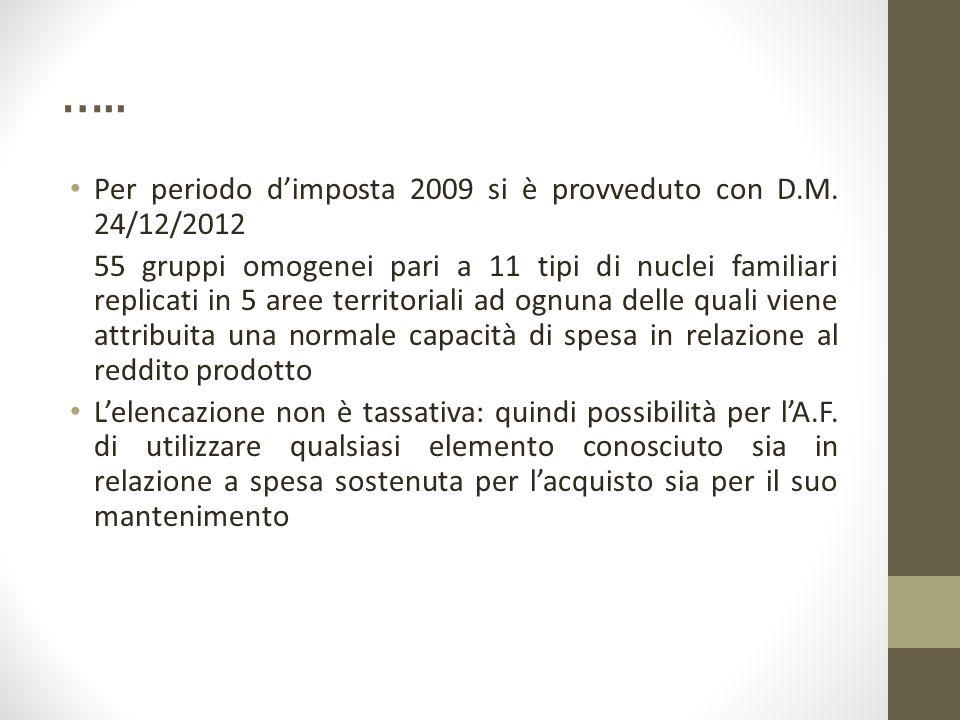 ….. Per periodo d'imposta 2009 si è provveduto con D.M. 24/12/2012 55 gruppi omogenei pari a 11 tipi di nuclei familiari replicati in 5 aree territori